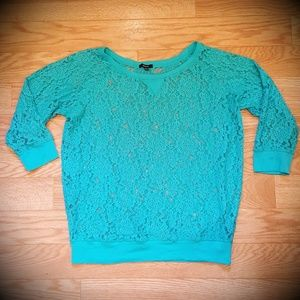 💟Blue Sheer Lace Floral Sweater EUC